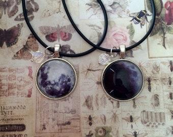 Moon & crystal necklace, Moon Necklace, Lunar necklace, Full moon necklace, Lunar Jewellery