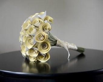 Glittery Gold Bridal Bouquet, Paper Flower Bouquet, Bridesmaid Bouquet, Toss Bouquet