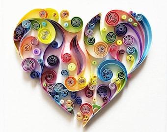 "Quilled Paper Art: ""Colourful Heart"" - Handmade Artwork - Paper Wall Art - Home Decor - Wall Decor - Home Decoration - Quilled Art"