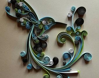 """Quilled Paper Art: """" Hummingbird"""" - Handmade Artwork - Paper Wall Art - Home Decor - Wall Decor - Home Decoration - Quilled Art"""