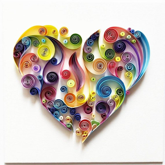 Quilled paper art colourful heart Wall art paper designs