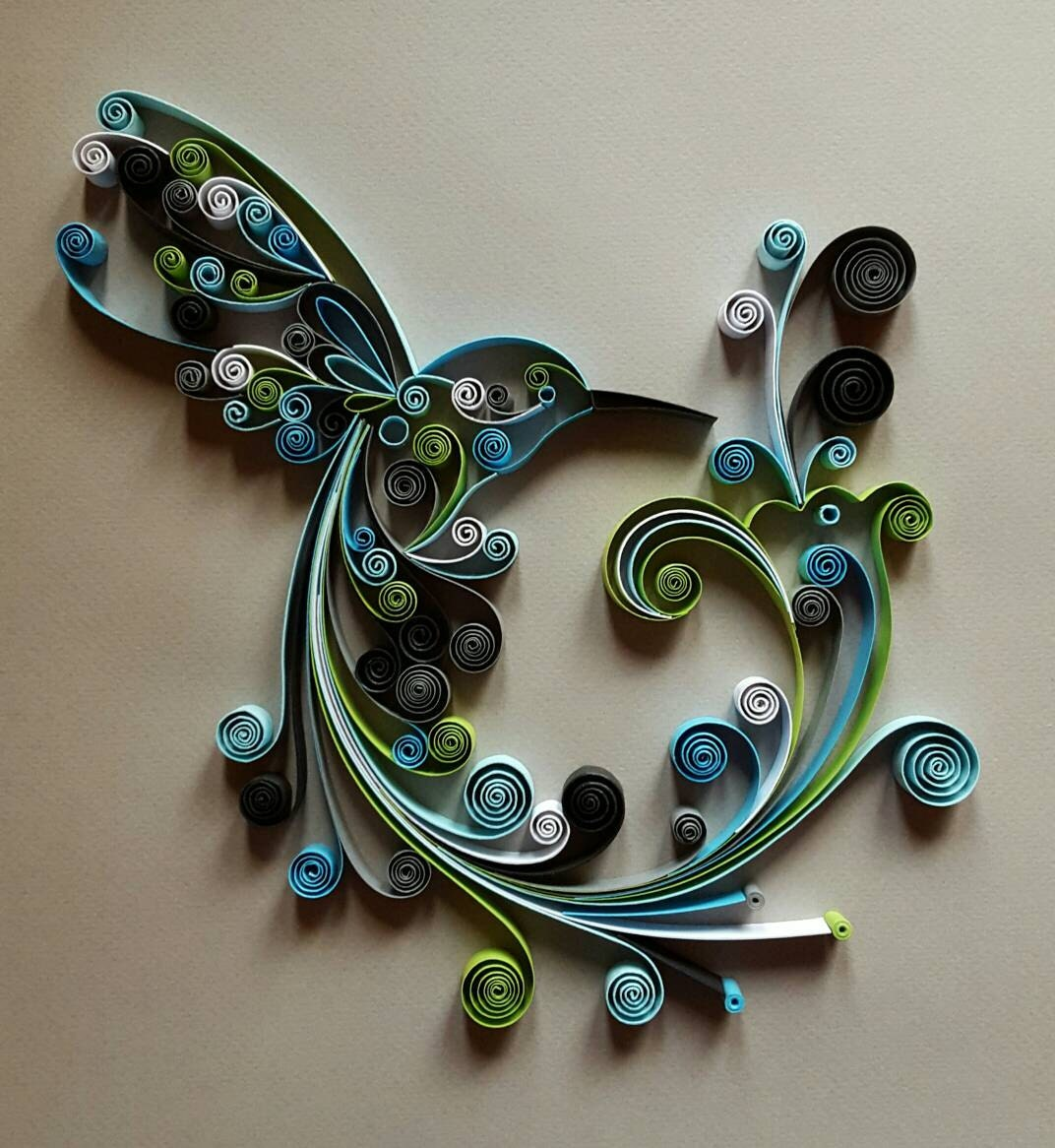 Quilled paper art hummingbird handmade artwork for Decoration quilling