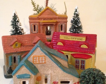 4 Antique Ceramic Christmas Houses Made in Japan
