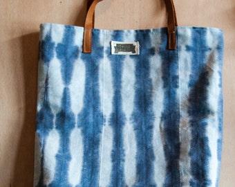 Shibori Bag > Stripes For Weibs<  hand dyed indigo unicorn