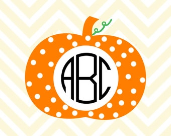 Polka dot Pumpkin Monogram SVG, DXF Files for Cricut Design Space, Silhouette Studio, Die Cut Machines, Instant Download of svg, dxf, & jpg