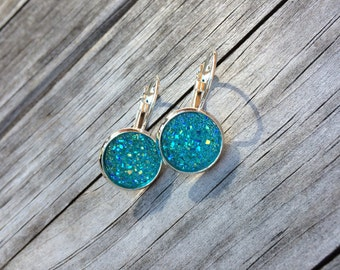 Blue Druzy Earrings, Faux Druzy Earrings, Bridal Druzy, Leverback Earrings
