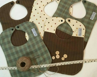 Bib set - 5 bibs - Neutral colours
