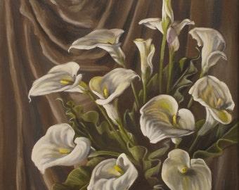 Original Oil painting Twilight Callas handmade