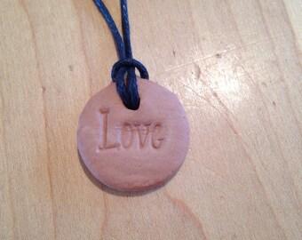 Terra Cotta Clay Aromatherapy Pendent-Love