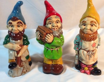 Vintage Set  of Three Colorful Hand Made Chalk Ware Gnomes Elves Rare Figurine Statues Christmas Ornament or Anytime Decoration