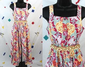80's Jumpsuit............80's Laura Ashley Floral Jumpsuit