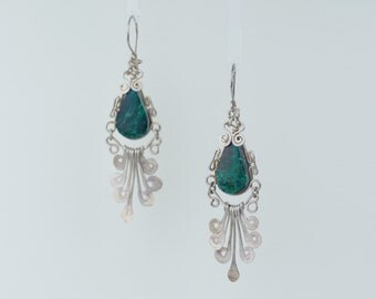 Antique Sterling Silver Old Earrings wih Chrysocolla Stone 1.5 Inches Long
