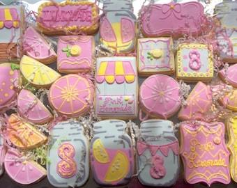 Pink Lemonade Decorated Cookies- Girly Cookie Set- Mason Jar Cookies- Lemonade Cookies