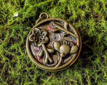 Vintage watch parts Steampunk woodlands pendant- Cherry Blossom flowers