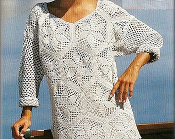 Crochet lace Hexagons Motifs Summer Tunic with Long Sleeves - Made to Order