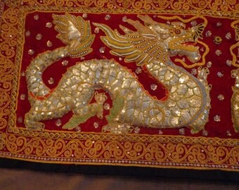 Asian Dragon Kalaga Wall Hanging, Gold Embroidered Trapunto DragonTapestry Cherry Red Velvet, Sequins,Pearls, Glass Beads, Dragon Mural Art