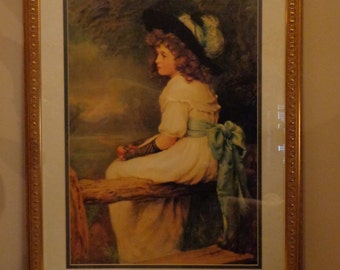 Large Matted and Framed Victorian Girl On A Fence With Apple Art Print Behind Glass 24 x 31 Inches,  Victorian Home Wall Art, Home Decor