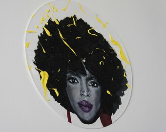Lauryn Hill oil painting on a record