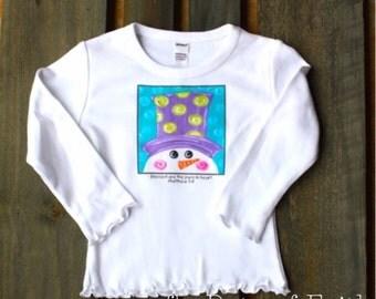 Girls Snowman Frilly Shirt, Christmas