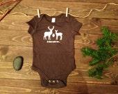 FLASH SALE **** Deer Baby Bodysuit, Deer Hunting Baby One Piece, Daddy's Little Hunting Buddy, Baby Hunting Bodysuit - Chocolate Brown