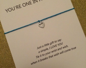 "Wish Bracelet ""Niece you're one in a million"""