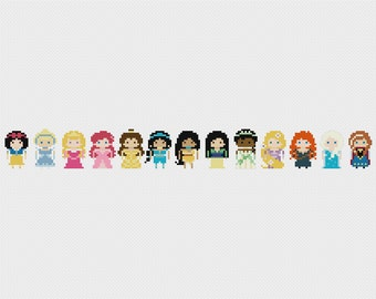 Disney Princess Minis Once Upon A Time Cross Stitch Pattern PDF Instant Download