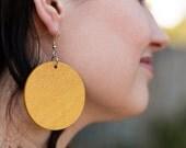 Large Yellowheart Circle Earrings