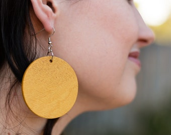 Large Yellowheart Circle Earrings