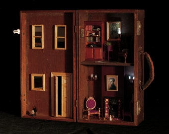 Vintage Suitcase Dollhouse: Upcycled Gorgeous Unique Dollhouse Made From Antique Engineer's Case