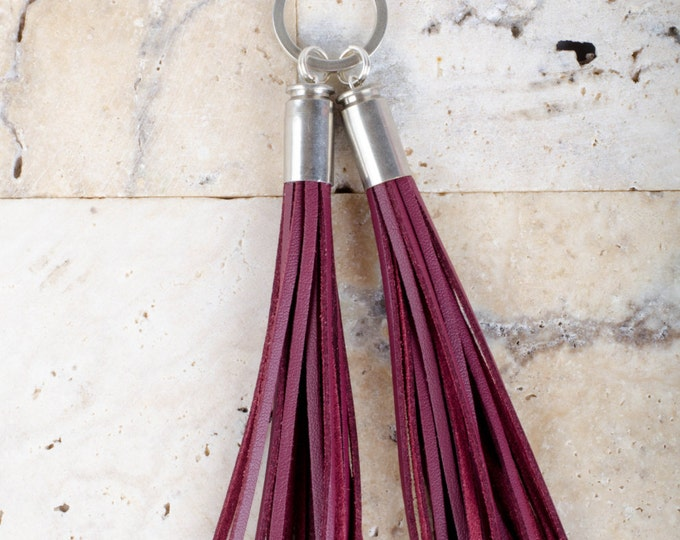 Vegan Leather Tassel Keyrings in Burgundy