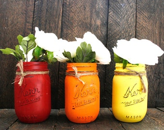 Red - Orange - Yellow Painted Mason Jar Set. Fall. Fall Leaves. Wedding Centerpiece. Rustic Jar. Vase. Shabby Chic. Home.