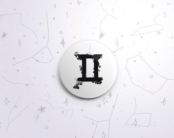 Gemini zodiac one-inch pinback button badge - small pin