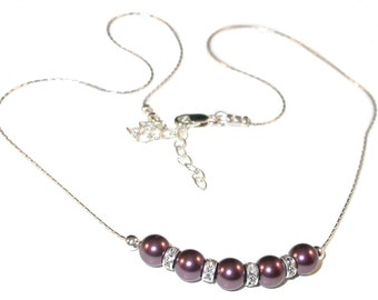 BURGUNDY Pearl Necklace Bridesmaid Sterling Silver Swarovski Elements