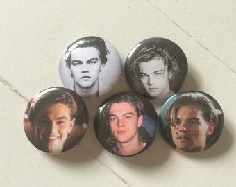 Young Leonardo Dicaprio Pinback Button Set of 5 (31mm)