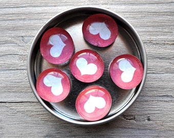 Round Glass Heart Magnets