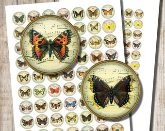 Printable Butterflies, Digital Collage Sheet, 1 inch, 1.5 inch circles, Old Music Sheet, Butterfly Jewelry Images, Instant Download, a5