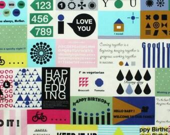Message Card in Green/Multi by Lecien Half yard 31230L-70