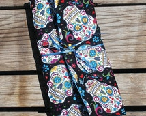 Insulated Bag from Day of the Dead Fabric for Curling Irons, Flat Irons or … Wine