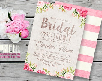 Rustic Floral Bridal Shower Invitation, Tea Stained Style, Watercolor Flowers, Autumn Wedding Luncheon - CUSTOMIZABLE PRINTABLE INVITATION