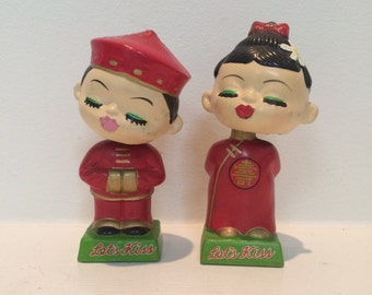 Kissing Bobble Heads - Vintage Japanese Bobble Heads - Kitschy Japanese Nodders