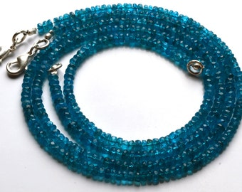 1  Stand 41.20  Carets 16 Inch Strand, Super Finest-Quality- Neon BLUE Apatite Micro Faceted Rondelle  Beads Necklace 2.5 TO 3 MM size