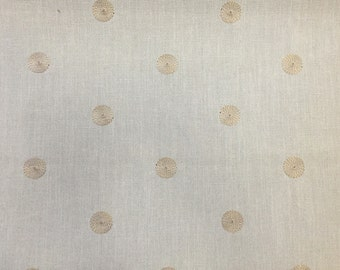 Embroidered Cream Dot on White Upholstery Fabric