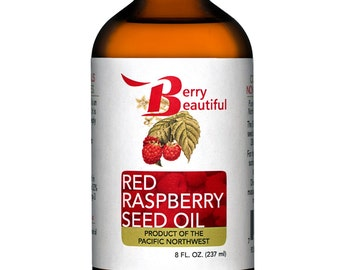 Red Raspberry Seed Oil - 8 Fl Oz (237 ml) - Cold Pressed by Berry Beautiful from locally grown Raspberries - 100% Pure & Unrefined