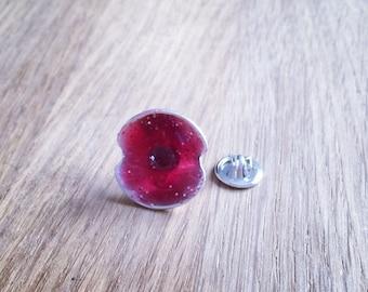 Silver & Enamel Poppy Pin
