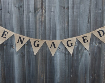Customisable Burlap / Hessian ENGAGED banner.