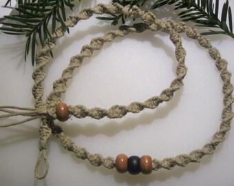 Hemp Necklace, Beaded Hemp Necklace, Unisex Hemp Jewelry, Mens Hemp Necklace,