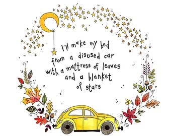 A4 Passenger lyrics, Life is for the living, quote, beetle, car, gift, A4 Print