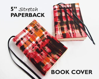 """Stretch Paperback Book Cover PINK PAINTED PLAID 5"""", Fabric Book Cover, Gifts for Book Lovers, Back to School Supplies, Removable Book Cover"""