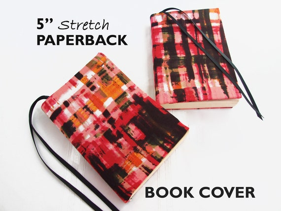 Paperback Book Cover Material : Stretch paperback book cover pink painted plaid by