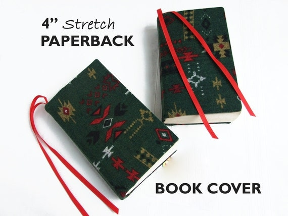 Removable Fabric Book Cover ~ Stretch paperback book cover southwest fabric by